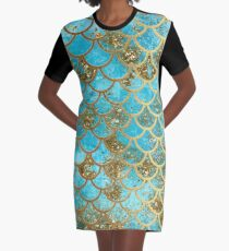 Teal, Gold Glitter and Blue Sparkle Faux Glitter Mermaid Scales Graphic T-Shirt Dress