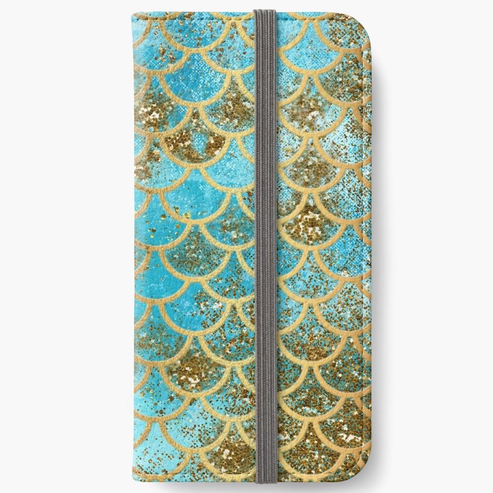 Teal, Gold Glitter und Blue Sparkle Faux Glitter Meerjungfrau Skalen iPhone Flip-Case