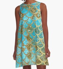 Teal, Gold Glitter and Blue Sparkle Faux Glitter Mermaid Scales A-Line Dress
