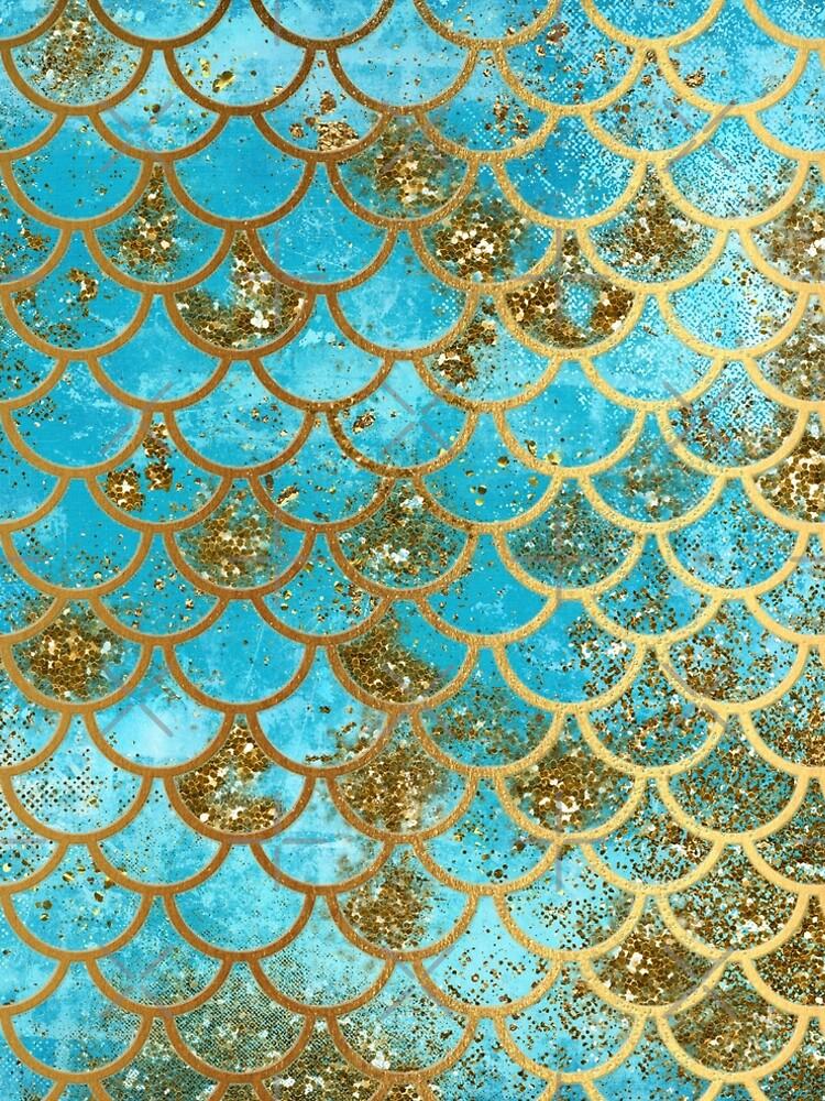 Teal, Gold Glitter und Blue Sparkle Faux Glitter Meerjungfrau Skalen von UtArt