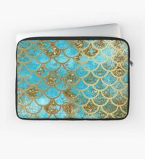 Teal, Gold Glitter and Blue Sparkle Faux Glitter Mermaid Scales Laptop Sleeve