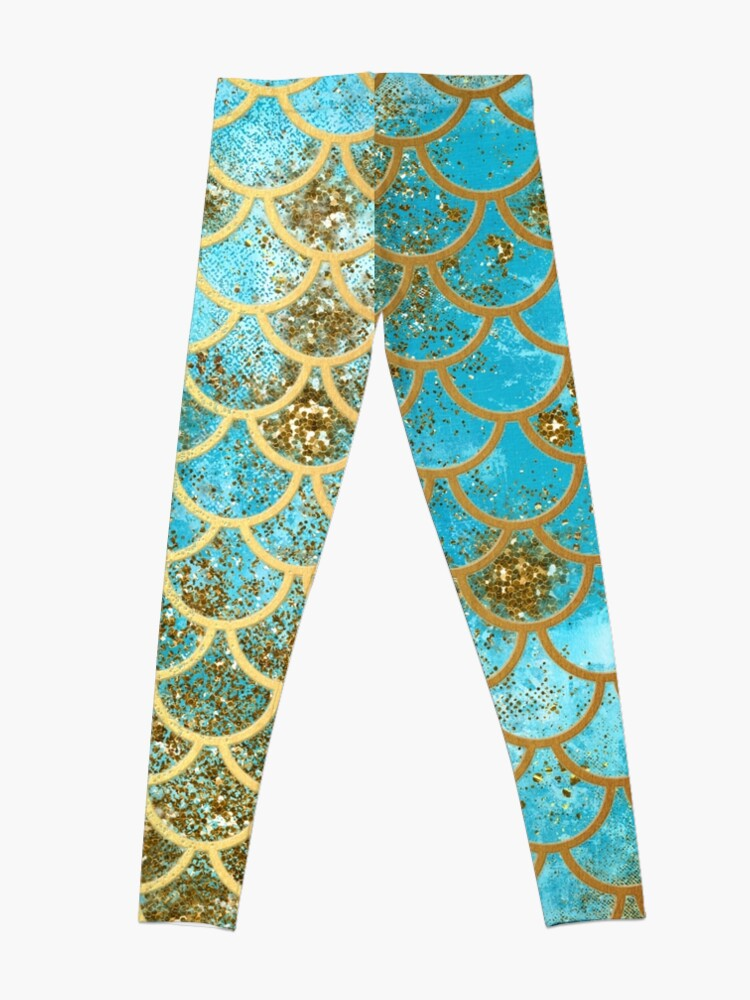 Alternative Ansicht von Teal, Gold Glitter und Blue Sparkle Faux Glitter Meerjungfrau Skalen Leggings