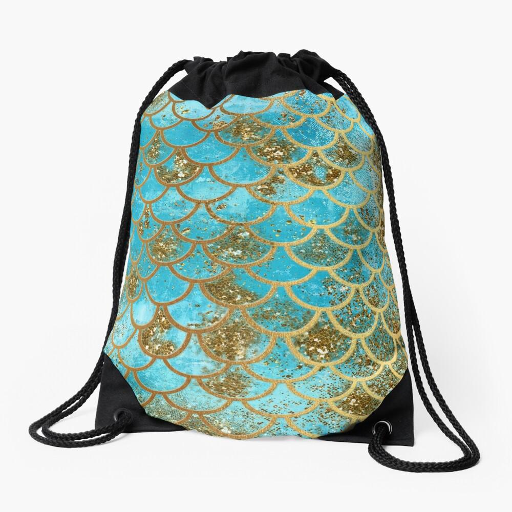 Teal, Gold Glitter und Blue Sparkle Faux Glitter Meerjungfrau Skalen Turnbeutel