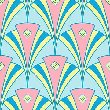 Art Deco Retro Miami Fan Pattern by ImagineThatNYC