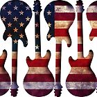 American Flag Guitar Art by Gravityx9