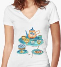 Watercolor Tea Party Women's Fitted V-Neck T-Shirt