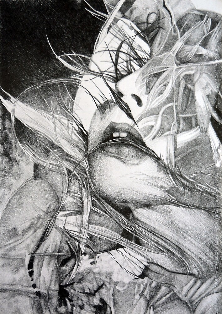 Burning flame illustration, abstract drawing of female portrait with hair in the wind. by oanaunciuleanu
