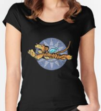 FLYING TIGERS INSIGNIA - (Weathered Version) - WORLD WAR II - AMERICAN VOLUNTEER GROUP Women's Fitted Scoop T-Shirt
