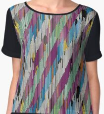 Abstract diagonal ornament of strokes in white, Chiffon Top