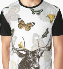 The Stag and Butterflies Graphic T-Shirt