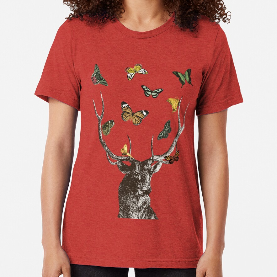 The Stag and Butterflies   Deer and Butterflies   Vintage Stag   Antlers   Woodland   Highland    Tri-blend T-Shirt