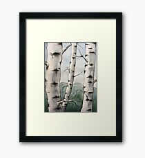 Watercolor Birch Tree Forest Framed Print
