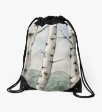 Watercolor Birch Tree Forest Drawstring Bag