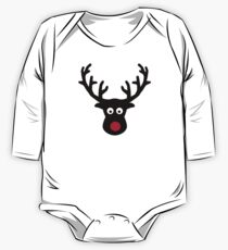 Reindeer face red nose One Piece - Long Sleeve