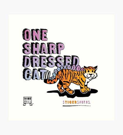 One Sharp Dressed Cat Art Print