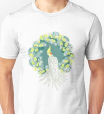 Cockatiel with daisy palm wreath Unisex T-Shirt