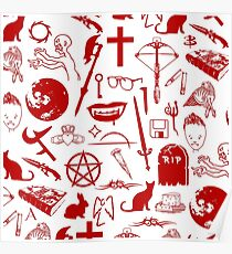 Buffy Symbology - Red Poster