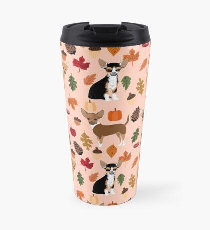Chihuahua autumn fall dog breed pet chihuahuas pet portrait Travel Mug