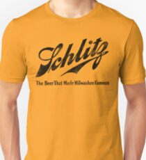 Schlitz - The Beer that Made Milwaukee Famous - weathered look T-Shirt