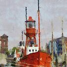 Lighthouse ship Helwick, Swansea, Wales in the style of Monet by David Carton