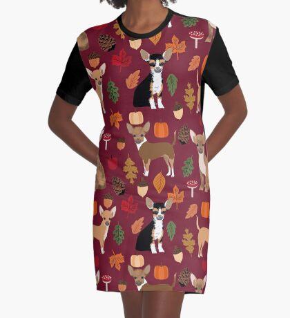 Chihuahua autumn fall dog breed pet portrait acorn pumpkin  Graphic T-Shirt Dress