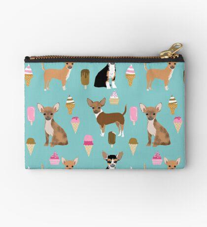 Chihuahua dog breed ice cream cone summer cute pet gifts chihuahuas Zipper Pouch