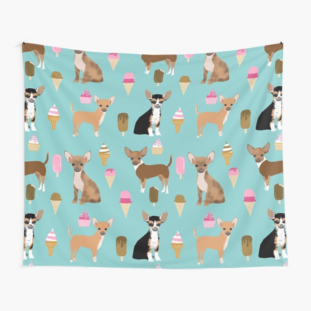 Chihuahua dog breed ice cream cone summer cute pet gifts chihuahuas Wall Tapestry