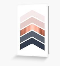 Chevrons in blush, navy and copper Greeting Card