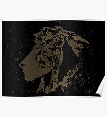 Dark Splatter Paint Lion Poster