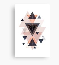 Geometric Design in Blush, Navy and Copper Canvas Print