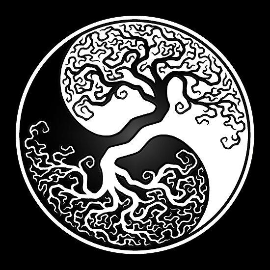 Weißer und schwarzer Baum des Lebens Yin Yang von jeff bartels