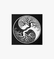 White and Black Tree of Life Yin Yang Art Board