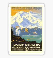 Vintage Travel Poster - Mount McKinley National Park Sticker