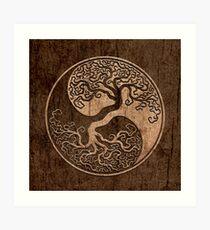 Grober Holzmaserung-Effekt-Baum des Lebens Yin Yang Kunstdruck