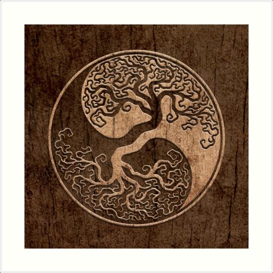 Grober Holzmaserung-Effekt-Baum des Lebens Yin Yang von jeff bartels