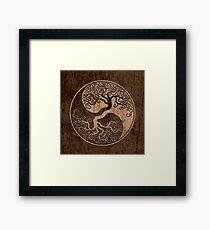 Rough Wood Grain Effect Tree of Life Yin Yang Framed Print