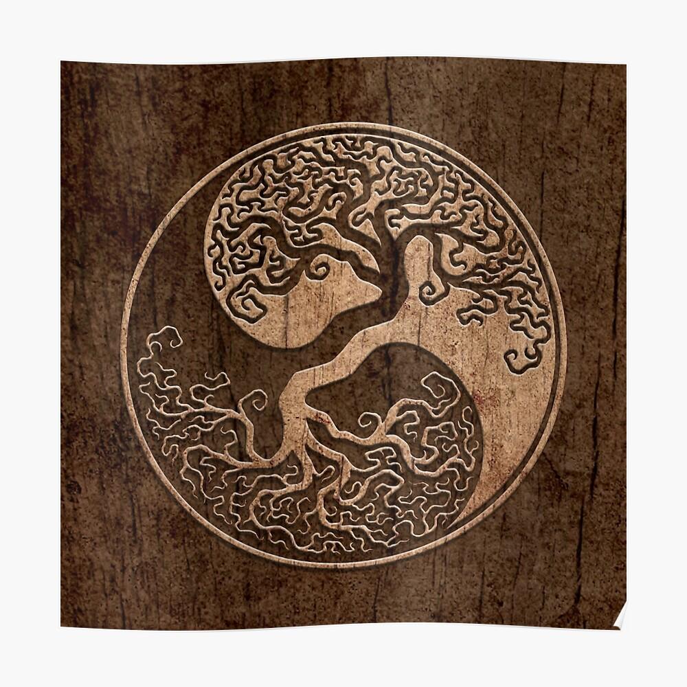 Grober Holzmaserung-Effekt-Baum des Lebens Yin Yang Poster