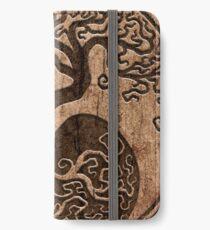 Rough Wood Grain Effect Tree of Life Yin Yang iPhone Wallet/Case/Skin