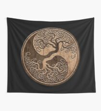 Rough Wood Grain Effect Tree of Life Yin Yang Wall Tapestry