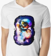 Cat Astronaut In Space Mens V-Neck T-Shirt