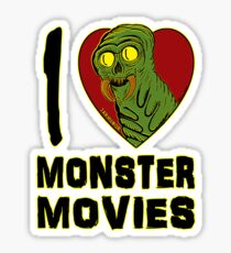 I Love Monster Movies Sticker