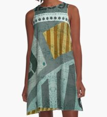Abstract Industrial Art - Olive A-Line Dress