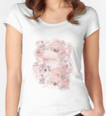 Nostalgic Letters Collage Soft Pink Women's Fitted Scoop T-Shirt
