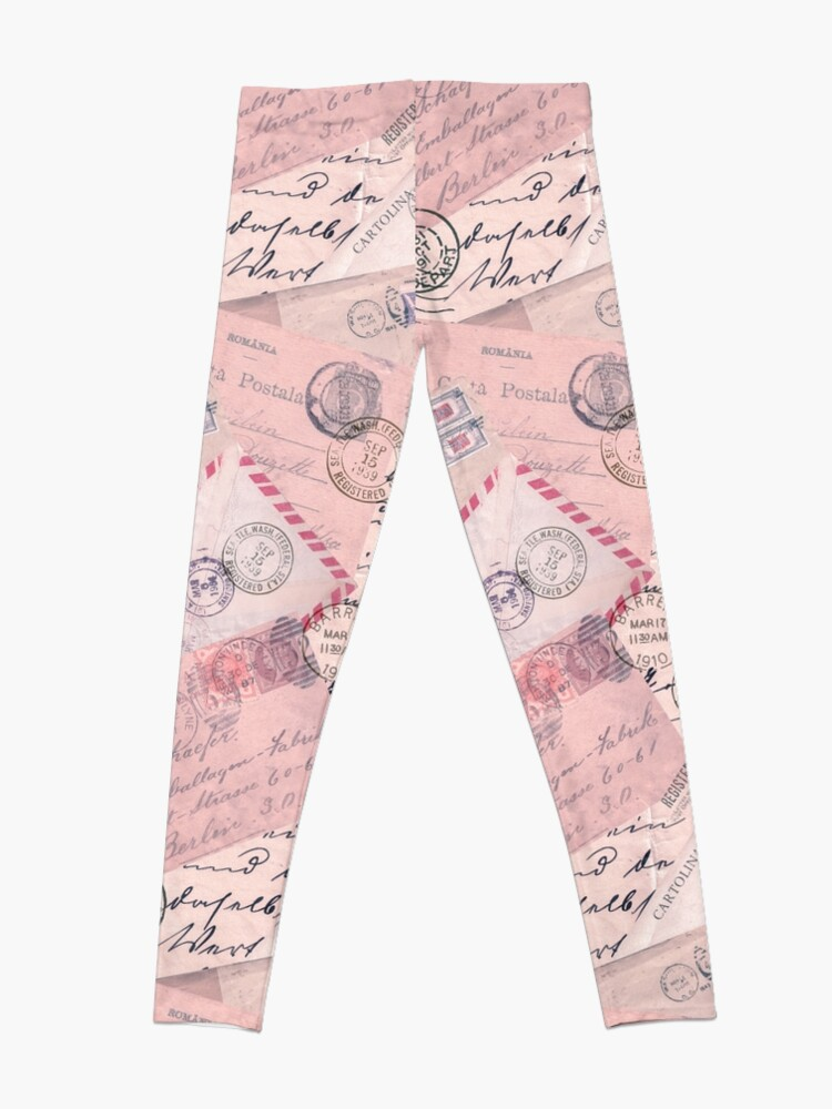 Alternate view of Nostalgic Letters Collage Soft Pink Leggings