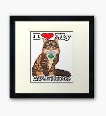 I Love My Cats And Coffee Products Framed Print