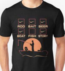 Rod.Bait.Beer.Boat.Fish.Story Shirt Unisex T-Shirt
