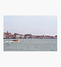 6 June 2017 Beautiful buildings near the canal and boats in the water in Canal Grande in Venice, Italy Photographic Print