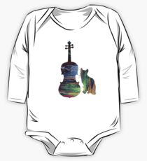 Cat And Viola Art One Piece - Long Sleeve