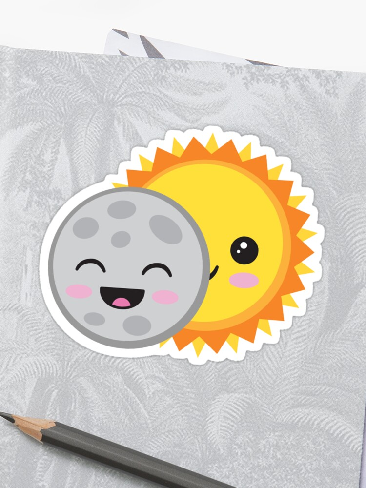 2017 Us Solar Eclipse T Shirt Dessin Animé Mignon Kawaii Sun Moon Sticker
