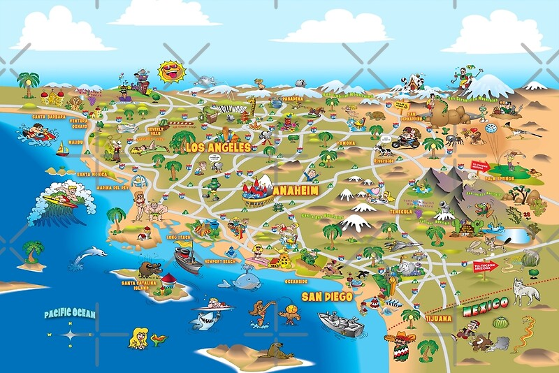Cartoon Map Of Southern California Photographic Prints By Dave - Southern ca map